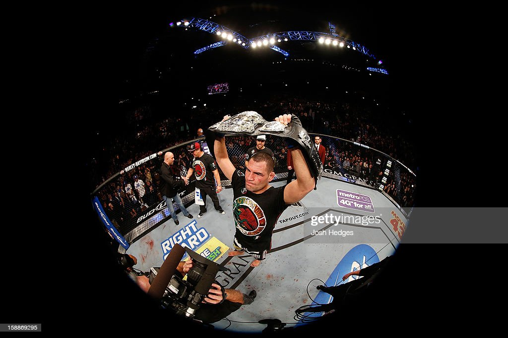 Cain Velasquez reacts after defeating Junior dos Santos during their heavyweight championship fight at UFC 155 on December 29, 2012 at MGM Grand Garden Arena in Las Vegas, Nevada.