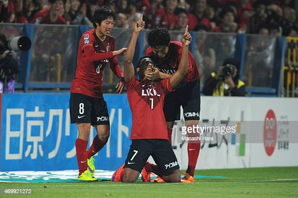 Caio of Kashima Antlers celebrates the second goal during the JLeague match between Kashiwa Reysol and Kashima Antlers at Hitachi Kashiwa Soccer...