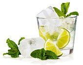 """n Caipirinha is Brazil's national cocktail, made with cachaca, sugar and lime. Isolated on white background."