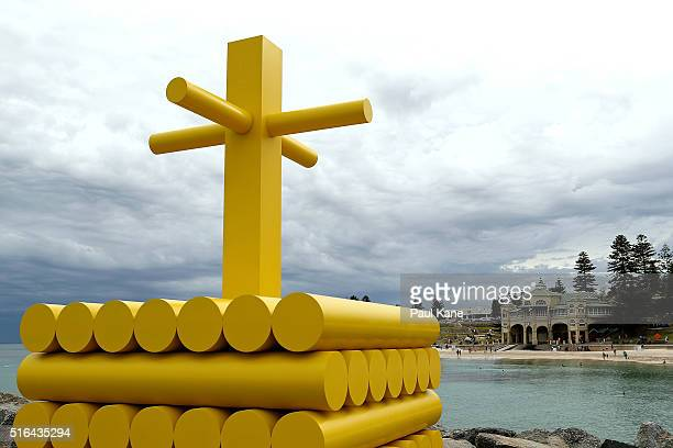 'Cairn' by artist Morgan Jones is seen during Sculpture By The Sea 2016 at Cottesloe Beach on March 19 2016 in Perth Australia
