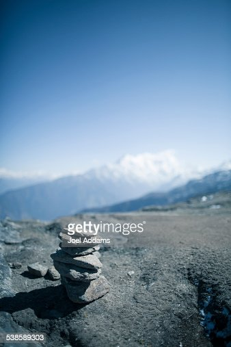 A cairn overlooking the mountains.