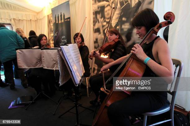 Cairn String Quartet play in the Champagne Seafood tent at Murrayfield