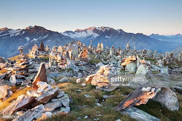 Cairns on the Peterskopfl, Ginzling, Tyrol, Austria
