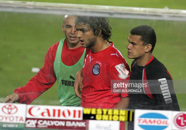 Egypt star striker Ahmed 'Mido' Hossam player in Tottenham is taken to the bench by next to Hossam Hassan a legend in the national football at 40...