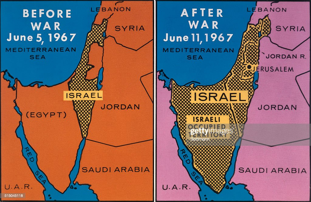 Map Showing Israeli Gains From Six Day War Pictures Getty Images - Map of egypt israel