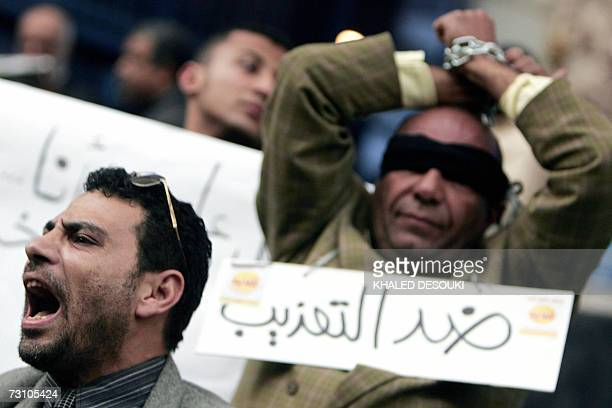 Egyptian human right activists protest against torture in police stations in Cairo 25 January 2007 An outcry by Egyptian and international rights...