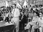 9/18/56 Cairo Egypt Egyptian President Gamal Abdel Nasser is addressing Air Force cadets at Bilbeis after foreign pilots on the Suez Canal walked out...
