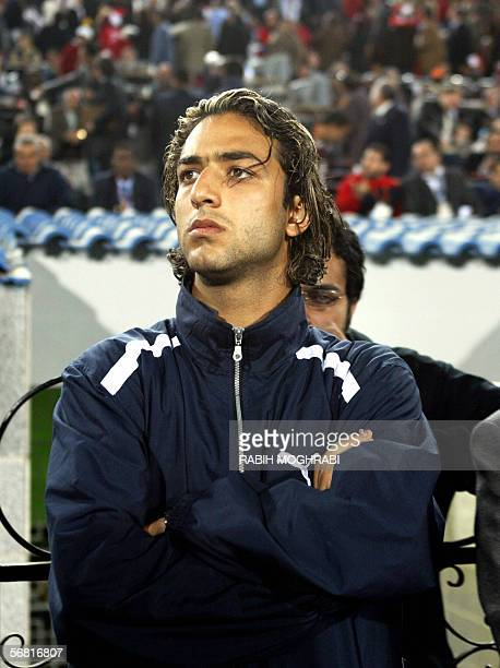 Egypt's star striker Ahmed 'Mido' Hossam player in Tottenham watches the final football game between Egypt's Pharaohs and the Elephants of Ivory...
