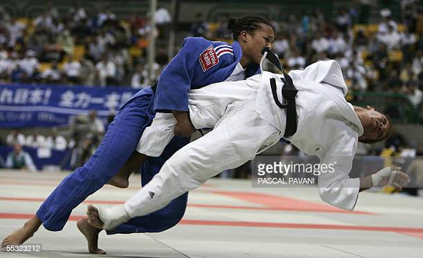 French Lucie Decosse vies with Cuban Driul Gonzales during the semifinal category 63kgs women during the World Judo Championships in Cairo 9...