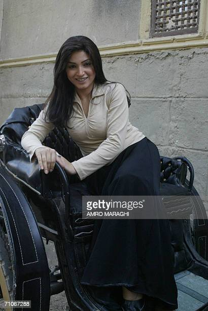 Young Egyptian actress Rogina poses for a picture during a shooting session 27 May 2006 at Cairo's AlAhram studios of the new TV series 'Haret...
