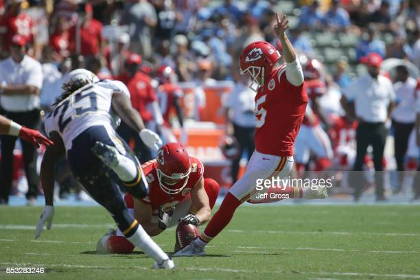 Cairo Santos of the Kansas City Chiefs kicks a field goal during the game against the Los Angeles Chargers at the StubHub Center on September 24 2017...