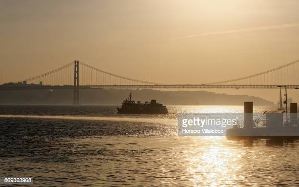 Cais do Sodre ferry during the crossing of Tagus River on October 31 2017 in Lisbon Portugal Cais do Sodre ferries cross the Tagus River to Seixal...