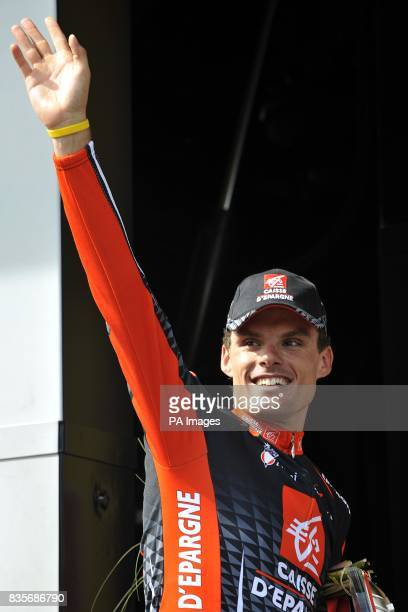 Caisse D'epargne's LuisLeon Sanchez on the podium after winning the eighth stage of the Tour de France between Andorre la Vieille and Saint Girons