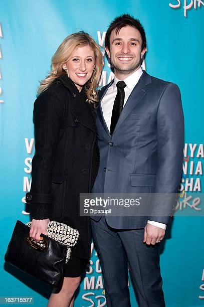 Caissie Levy and David Riser attend the 'Vanya And Sonia And Masha And Spike' Broadway Opening Night at The Golden Theatre on March 14 2013 in New...