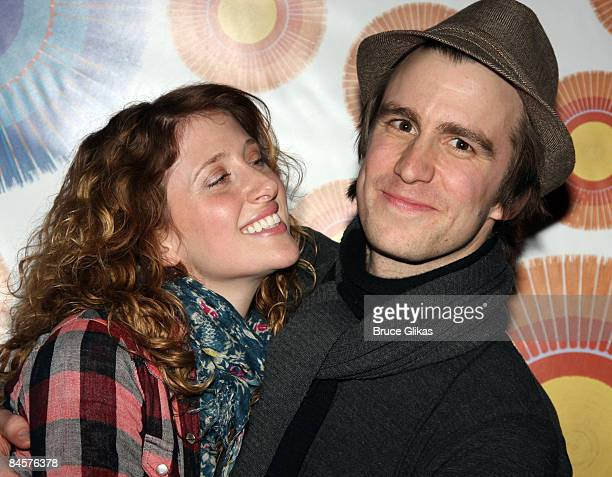 Caissie Levy and Gavin Creel attend a meetandgreet with the cast and creative team of 'Hair' at the Union Square Theatre on January 30 2009 in New...