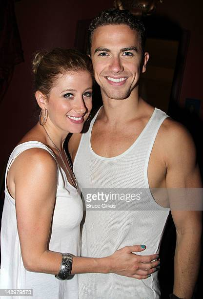 Caissie Levy and Richard Fleeshman pose backstage at the hit musical 'Ghost' on Broadway at The Lunt Fontanne Theater on July 20 2012 in New York City