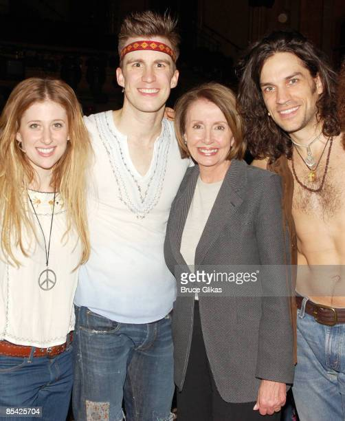 Caissie Levy Gavin Creel US Speaker of the House Rep Nancy Pelosi and Will Swenson pose as Pelosi visits with the cast of 'HAIR' the musical...