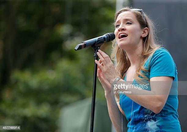 Caissie Levy of the Broadway production of Les Miserables performs during 1067 LITE FM's Broadway in Bryant Park 2014 at Bryant Park on July 17 2014...