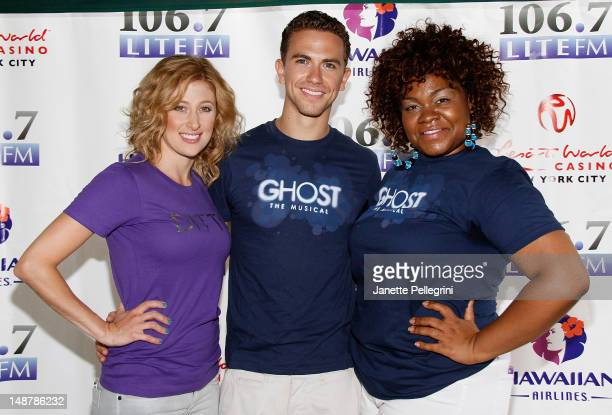 Caissie Levy Richard Fleeshman and Da'Vine Joy Randolph from the cast of Ghost attend 1067 Lite FM Presents Broadway in Bryant Park on July 19 2012...