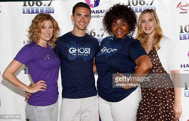 Cassie Levy Richard Fleeshman and Da'Vine Joy Randolph from the cast of 'Ghost' with host Christine Nagy attend 1067 Lite FM Presents Broadway in...