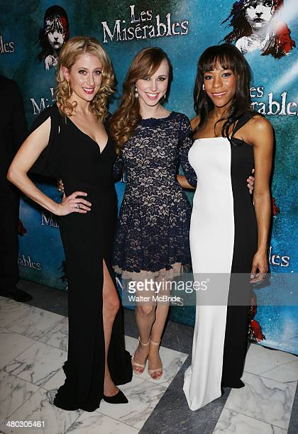 Caissie Levy Samantha Hill and Nikki M James attends the Broadway Opening Night After Party Reception for 'Les Miserables' at The Imperial Theater on...