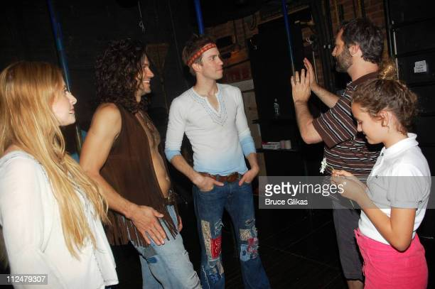 Caissie Levy Will Swenson Gavin Creel Judd Apatow and his daughter Maude Apatow talk backstage at the musical 'Hair' on Broadway at The Al Hirschfeld...
