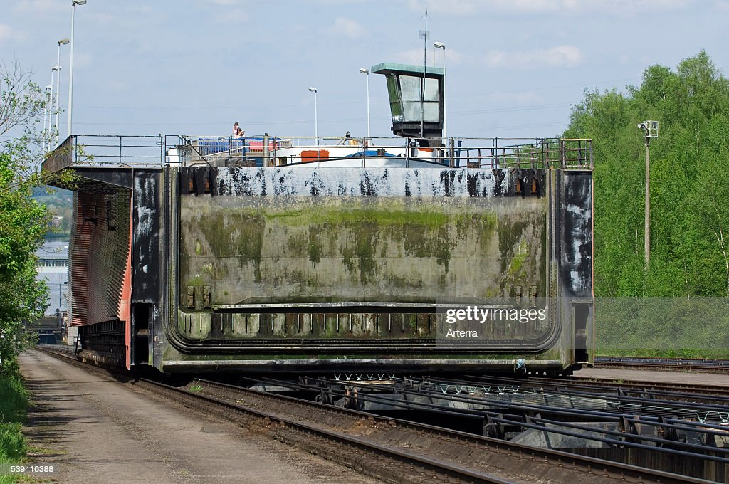 Caisson with boat on the Ronquieres Inclined Plane on the BrusselsCharleroi Canal Belgium