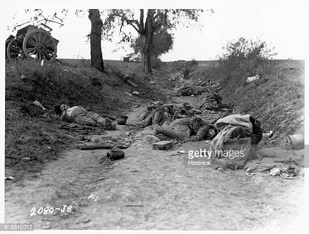 Caissons corpses and debris litter a sunken road at MissyauxBois France following a hasty retreat by German troops during fighting with French...