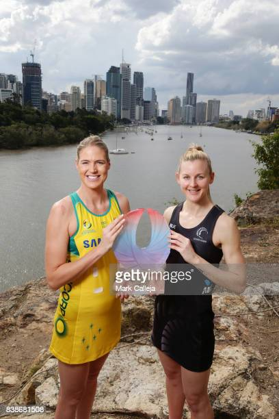 Caitlin Bassett of Australia and Katrina Grant of New Zealand pose during the Netball Quad Series Captain's Call at Kangaroo Cliffs Point Lookout on...