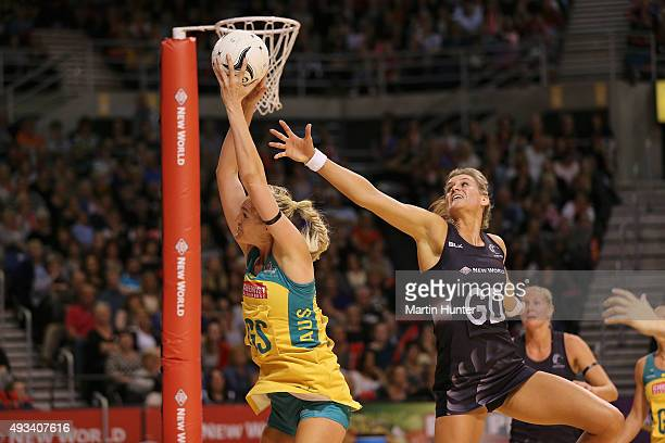 Caitlin Bassett of Australia battles with Leana de Bruin of New Zealand during the International Test match between the New Zealand Silver Ferns and...