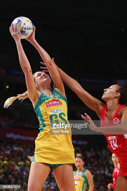 Caitlin Bassett Of Australia catches the ball during the 2015 Netball World Cup Qualification round match between Australia and England at Allphones...