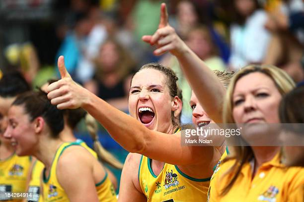 Caitlin Bassett of Australia celebrates after during game five of the Constellation Cup series between the Australian Diamonds and the New Zealand...