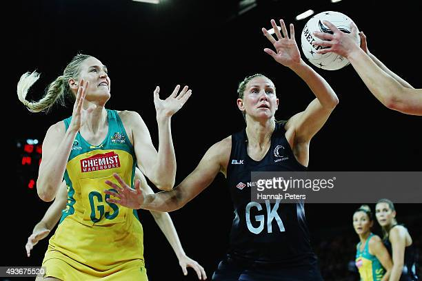 Caitlin Bassett of Australia competes with Casey Kopua of the Silver Ferns for the ball during the International Netball Test Match between the New...