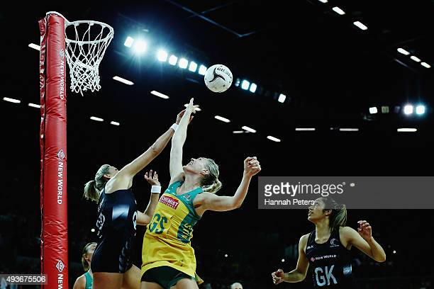 Caitlin Bassett of Australia competes with Leana de Bruin of New Zealand for the ball during the International Netball Test Match between the New...
