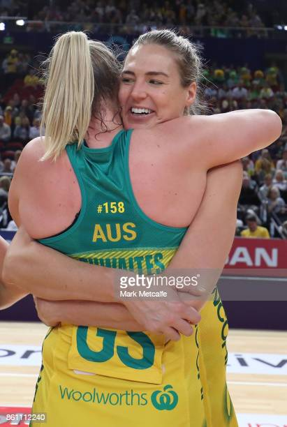 Caitlin Bassett of Australia embraces Caitlyn Thwaites of Australia after victory in the 2017 Constellation Cup match between the Australian Diamonds...