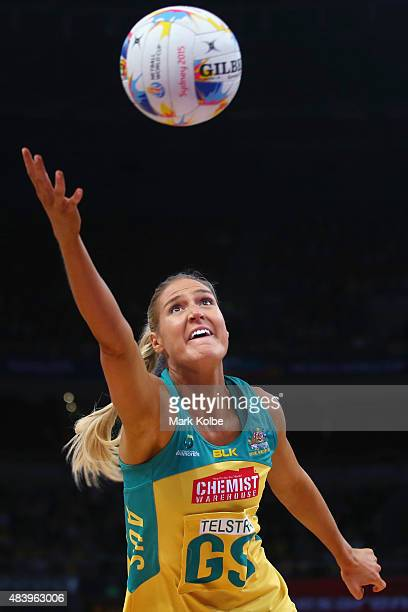 Caitlin Bassett Of Australia stretches to catch the ball during the 2015 Netball World Cup match between Australia and Wales at Allphones Arena on...