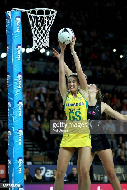 Caitlin Bassett of Australia takes a pass during the 2017 Constellation Cup match between the New Zealand Silver Ferns and the Australia Diamonds at...