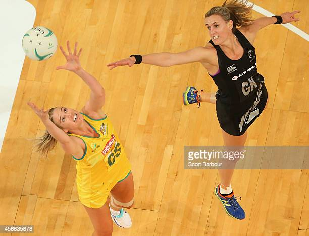 Caitlin Bassett of the Diamonds and Leana de Bruin of the Silver Ferns compete for the ball during the International Test match between the New...