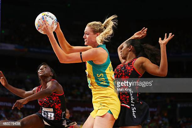 Caitlin Bassett of the Diamonds catches the ball during the 2015 Netball World Cup match between Australia and Trinidad Tobago at Allphones Arena on...