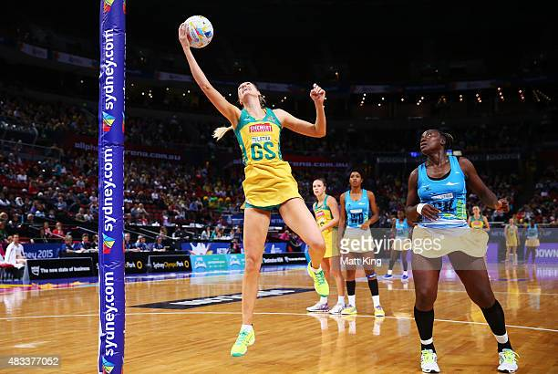 Caitlin Bassett of the Diamonds catches the ball during the 2015 Netball World Cup match between Australia and Barbados at Allphones Arena on August...