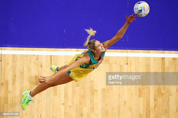 Caitlin Bassett of the Diamonds catches the ball during the 2015 Netball World Cup Semi Final 2 match between Australia and Jamaica at Allphones...