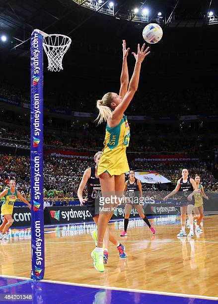 Caitlin Bassett of the Diamonds catches the ball during the 2015 Netball World Cup Gold Medal match between Australia and New Zealand at Allphones...