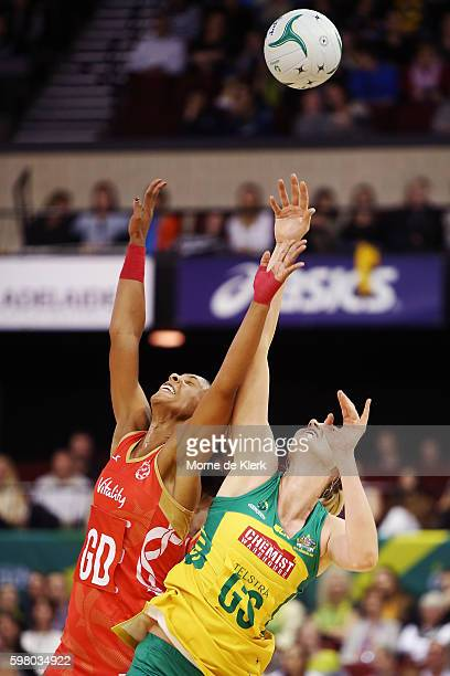 Caitlin Bassett of the Diamonds competes with Stacey Francis of the Roses the ball during the International Test match between the Australian...