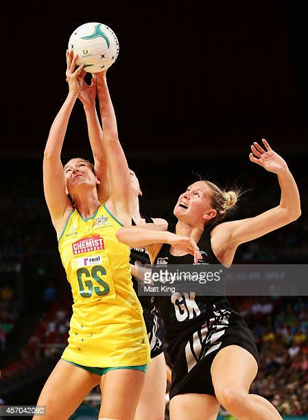 Caitlin Bassett of the Diamonds is challenged by Casey Kopua of the Ferns during the International Netball Test match between the New Zealand Silver...