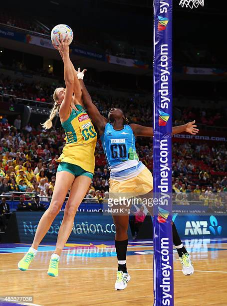 Caitlin Bassett of the Diamonds is challenged by Shonette Bruce of Barbados during the 2015 Netball World Cup match between Australia and Barbados at...
