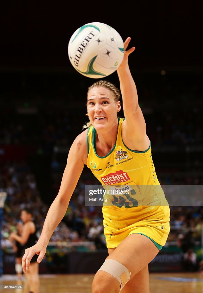 Caitlin Bassett of the Diamonds reaches for the ball during the International Netball Test match between the New Zealand Silver Ferns and the...