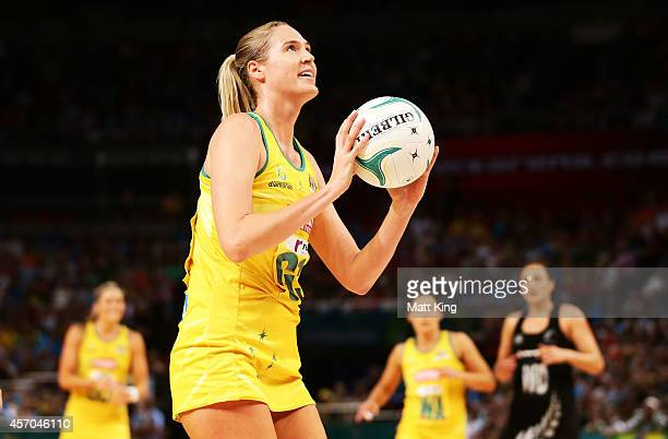 Caitlin Bassett of the Diamonds shoots during the International Netball Test match between the New Zealand Silver Ferns and the Australian Diamonds...