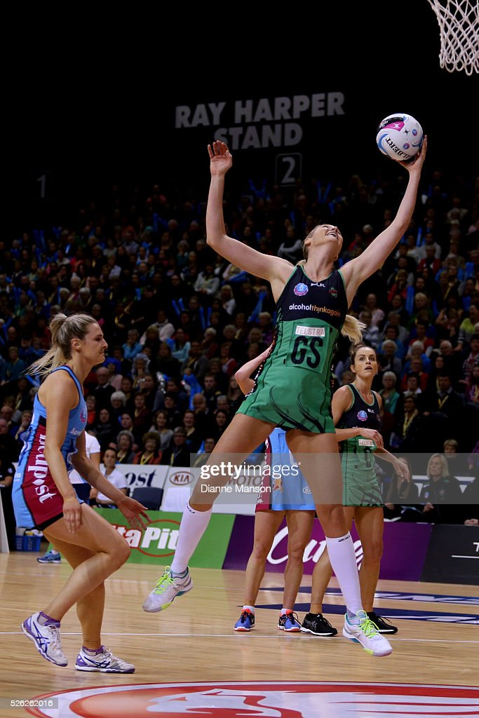 Caitlin Bassett of the Fever grabs the rebound during the ANZ Championship match between the Steel and the Fever on April 30, 2016 in Invercargill, New Zealand.