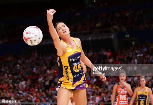 Caitlin Bassett of the Lightning follows the ball during the round 14 Super Netball match between the Giants and the Lightning at Qudos Bank Arena on...