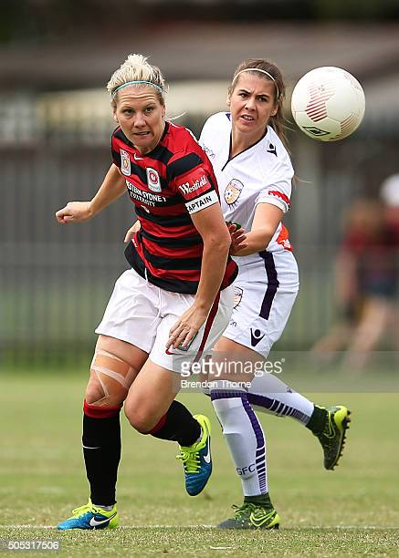 Caitlin Cooper of the Wanderers competes with Shawn Billam of the Glory during the round 14 WLeague match between the Western Sydney Wanderers and...